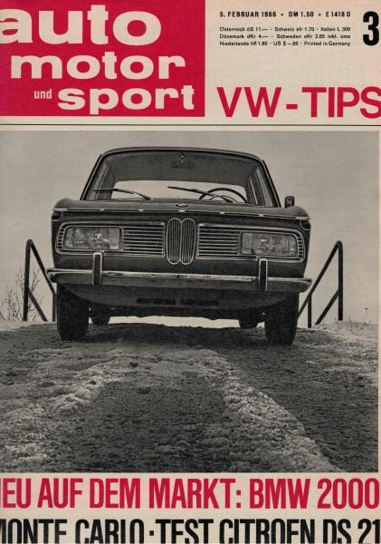 Auto Motor und Sport 1966 Heft 03-05.02.1966