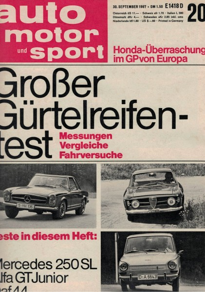 Auto Motor und Sport 1967 Heft 20-30.09.1967