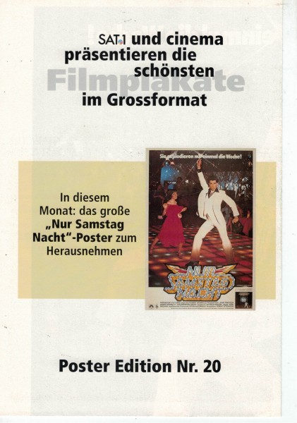 Cinema Poster Edition Nr. 20 - Nur Samstag Nacht