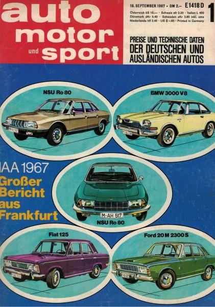 Auto Motor und Sport 1967 Heft 19-16.09.1967