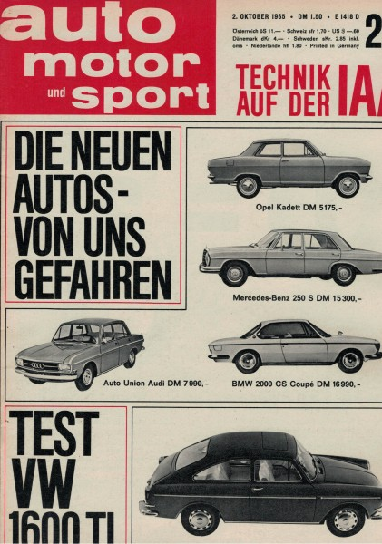 Auto Motor und Sport 1965 Heft 20-02.10.1965