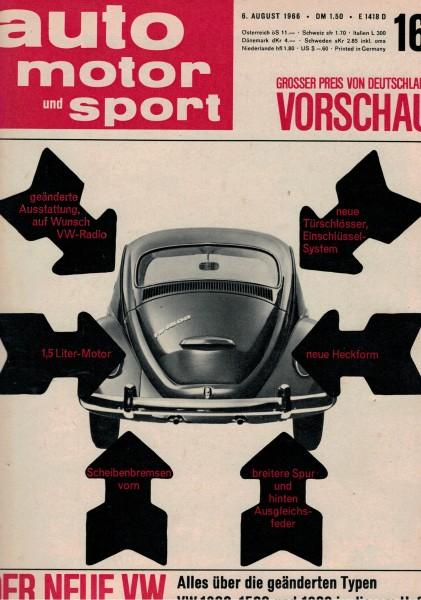 Auto Motor und Sport 1966 Heft 16-06.08.1966