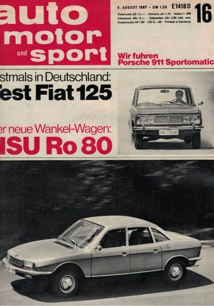 Auto Motor und Sport 1967 Heft 16-06.08.1967