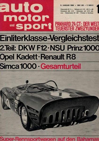 Auto Motor und Sport 1965 Heft 01-09.01.1965